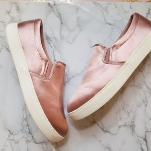 Shiny Pink Slide On Sneakers